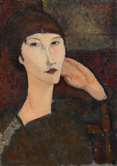 Modigliani, Amedeo: Adrienne (Woman with Bangs). Fine Art Print/Poster. (004312)